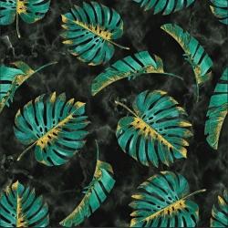 Dresówka z pętelką Liście monstera zielono złote na marmurowym tle - druk cyfrowy