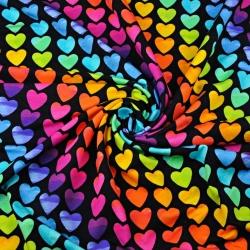 Dzianina bawełniana Jersey druk cyfrowy - serca kolorowe na czarnym tle