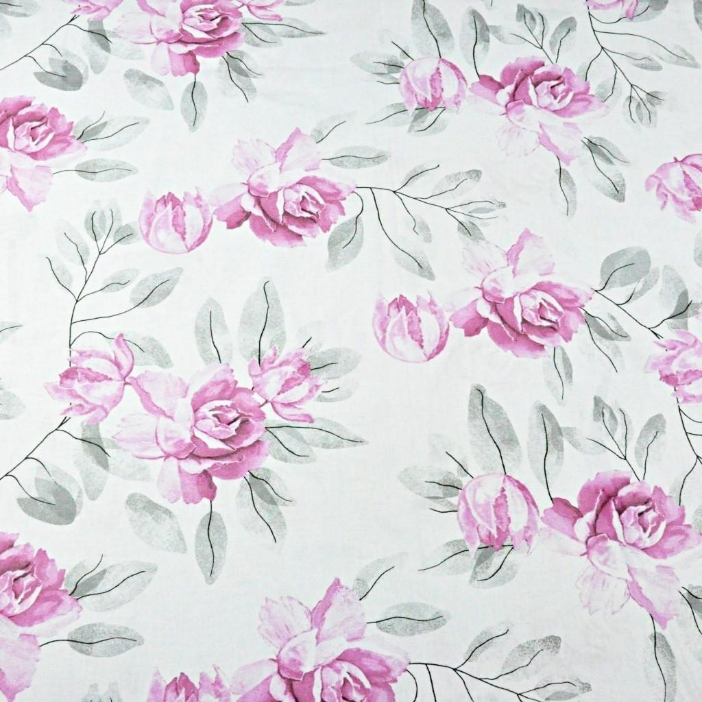 Tkanina kwiaty peonia różowo szara na białym tle
