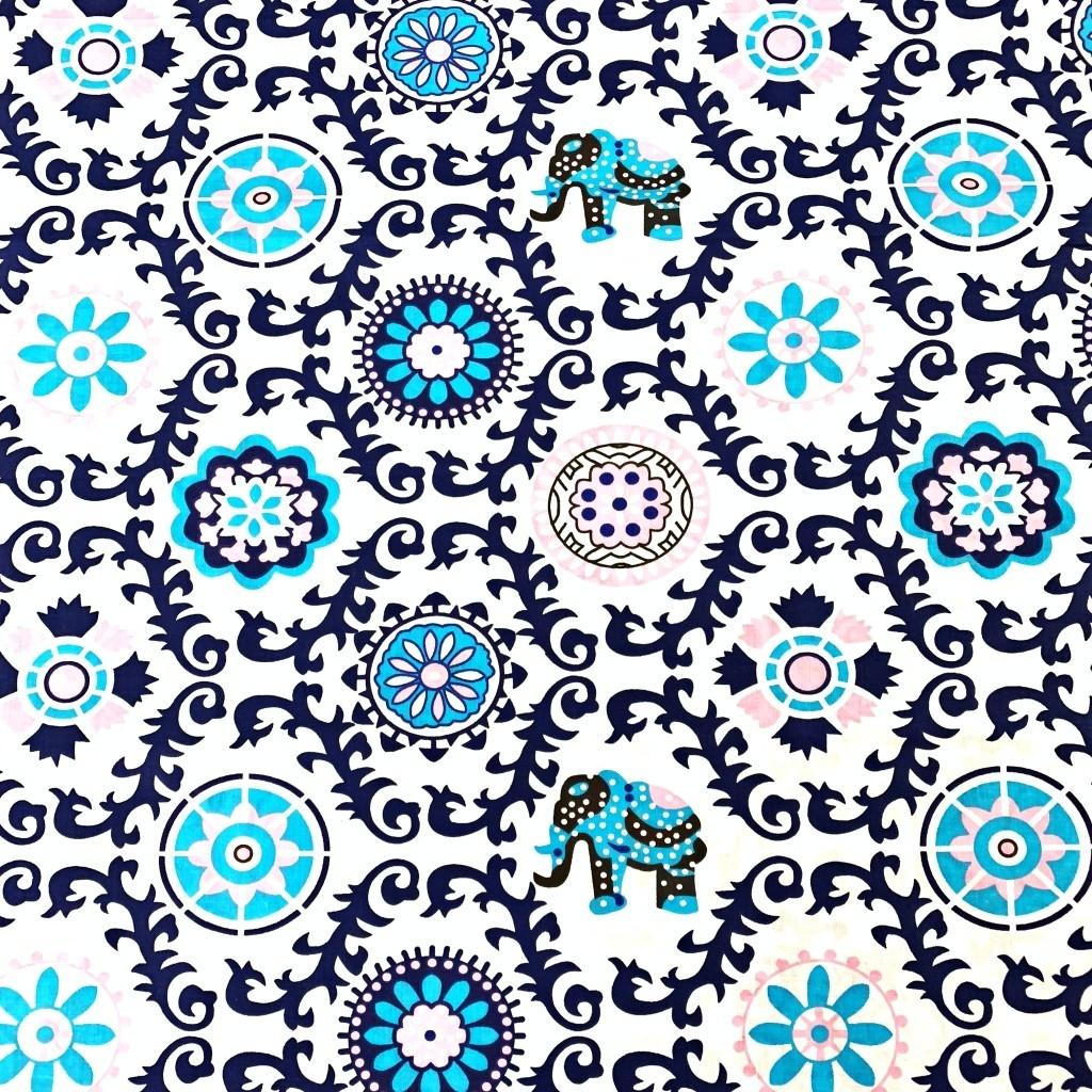 Tkanina wzór kwiatowy indyjski granatowy