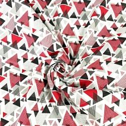 Tkanina w trójkąty w kropki czerwono szare na białym tle