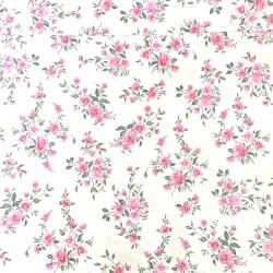 Tkanina kwiaty bukiety różyczki na białym tle