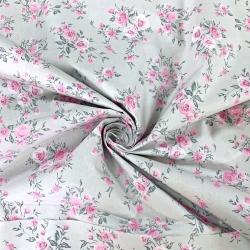 Tkanina kwiaty bukiety różyczki na szarym tle