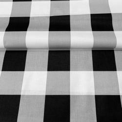 Tkanina krata duża szaro czarno biała
