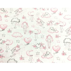 Tkanina w przytulanki różowe na białym tle