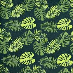 Tkanina wodoodporna jasno zielone liście monstera na ciemno zielonym tle