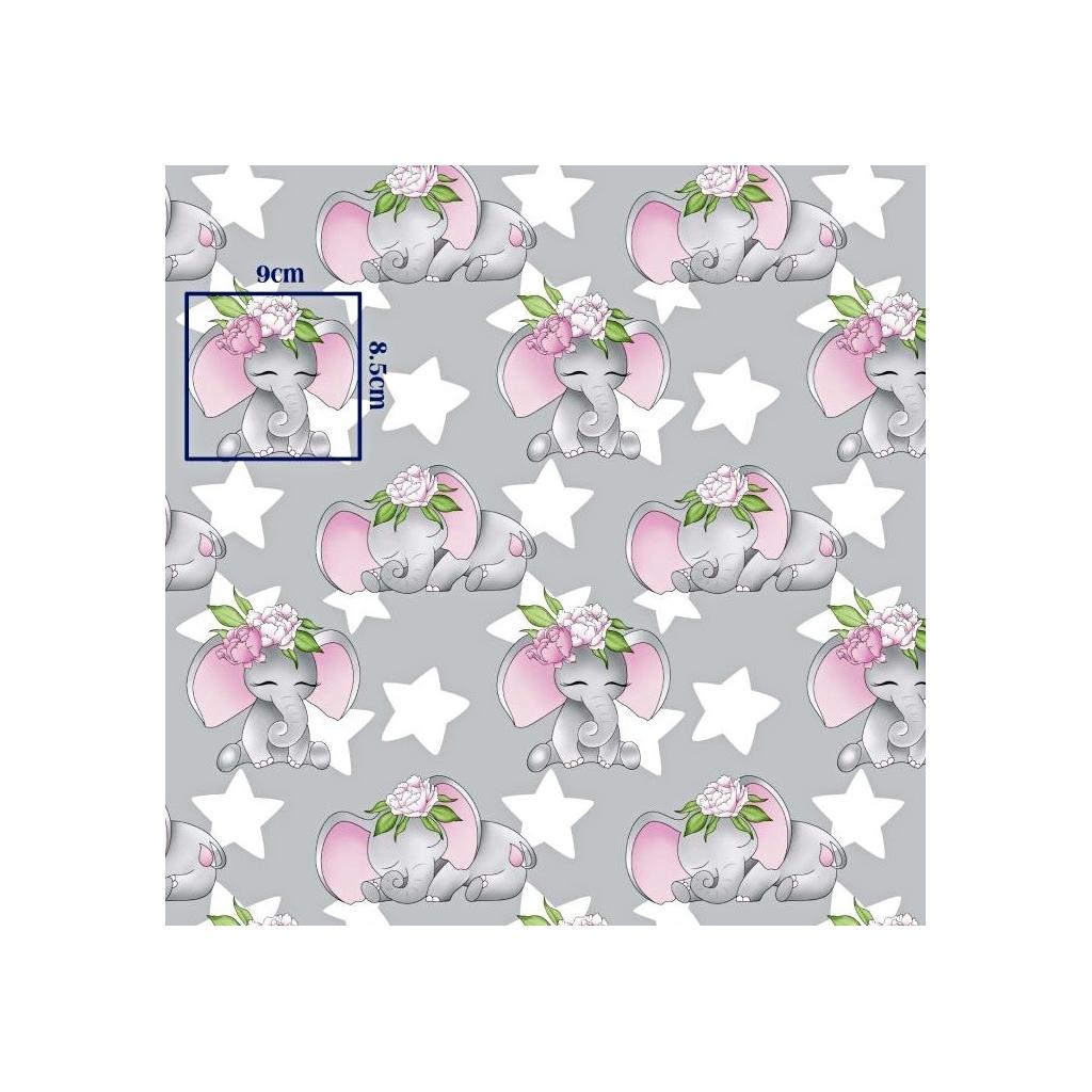 Tkanina w słoniki różowe z gwiazdkami na szarym tle