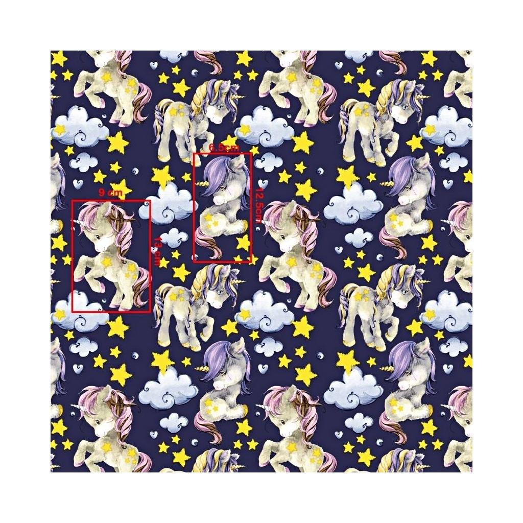 Tkanina w jednorożce z żółtymi gwiazdkami na fioletowym tle