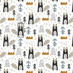 Tkanina w bobry beżowe na białym tle