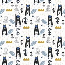 Tkanina w bobry niebieskie na białym tle