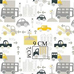Tkanina samochody w mieście żółto szare na białym tle