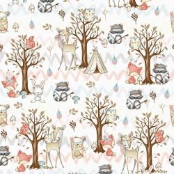 Tkanina w zwierzęta indiańskie w lesie na białym tle