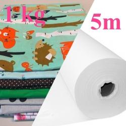Pakiet: 5m Flizelina medyczna biała 40 g/m2 + ścinki bawełny 1 kg