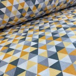 Tkanina w trójkąty małe kolorowe szaro-ciemnożółte