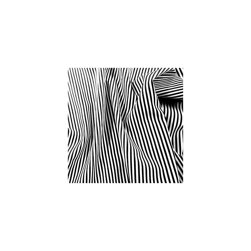 Tkanina w Paseczki czarno białe