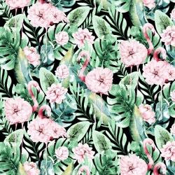 Tkanina w flamingi w liściach monstera z kwiatami na czarnym tle