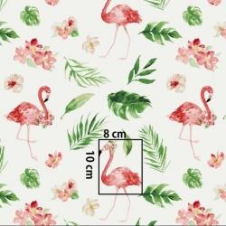 Tkanina w flamingi z kwiatami i liśćmi na białym tle