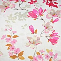 Imagén: kwiaty magnolia różowa na białym tle - 220cm