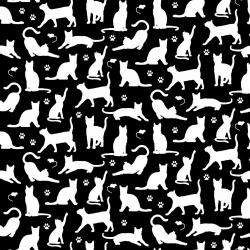 Tkanina w kotki małe kontury białe na czarnym tle