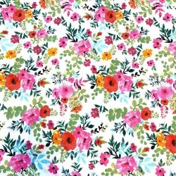 Tkanina kwiaty maki kolorowe na białym tle