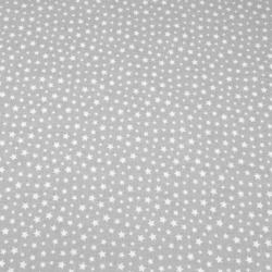 Tkanina antybakteryjna  gwiazdki MINI białe na szarym tle