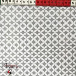 Tkanina antybakteryjna koniczyna marokańska szaro biała
