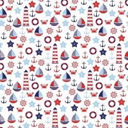 Tkanina w Morskie wzory czerwono granatowe na białym tle