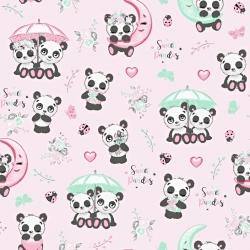Tkanina pandy z parasolem na różowym tle
