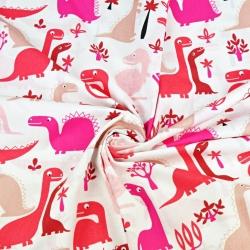 Tkanina w dinozaury czerwone na białym tle