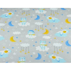 Tkanina misie śpiące niebiesko żółte na jasno szarym tle