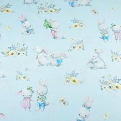 Tkanina zakochane króliki na niebieskim tle