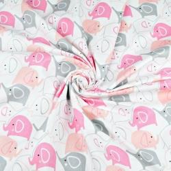 Tkanina w słoniki szaro różowe na białym tle