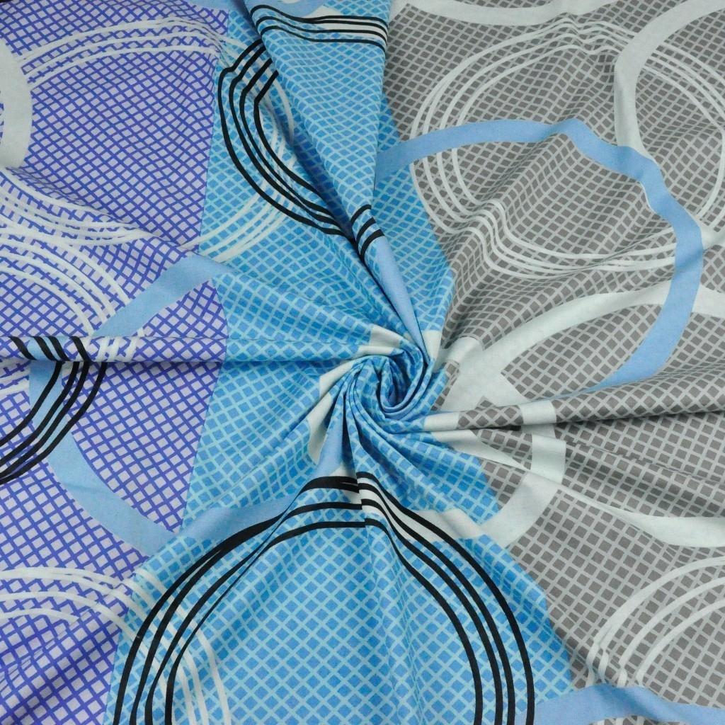 Tkanina w koła niebiesko szaro fioletowe - 220cm