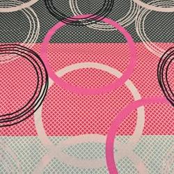 Tkanina w koła szaro różowo czarne
