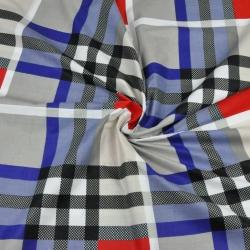 Tkanina krata niebiesko szaro czerwona