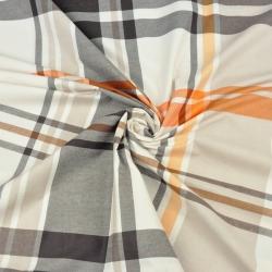 Tkanina krata beżowo pomarańczowo brązowa