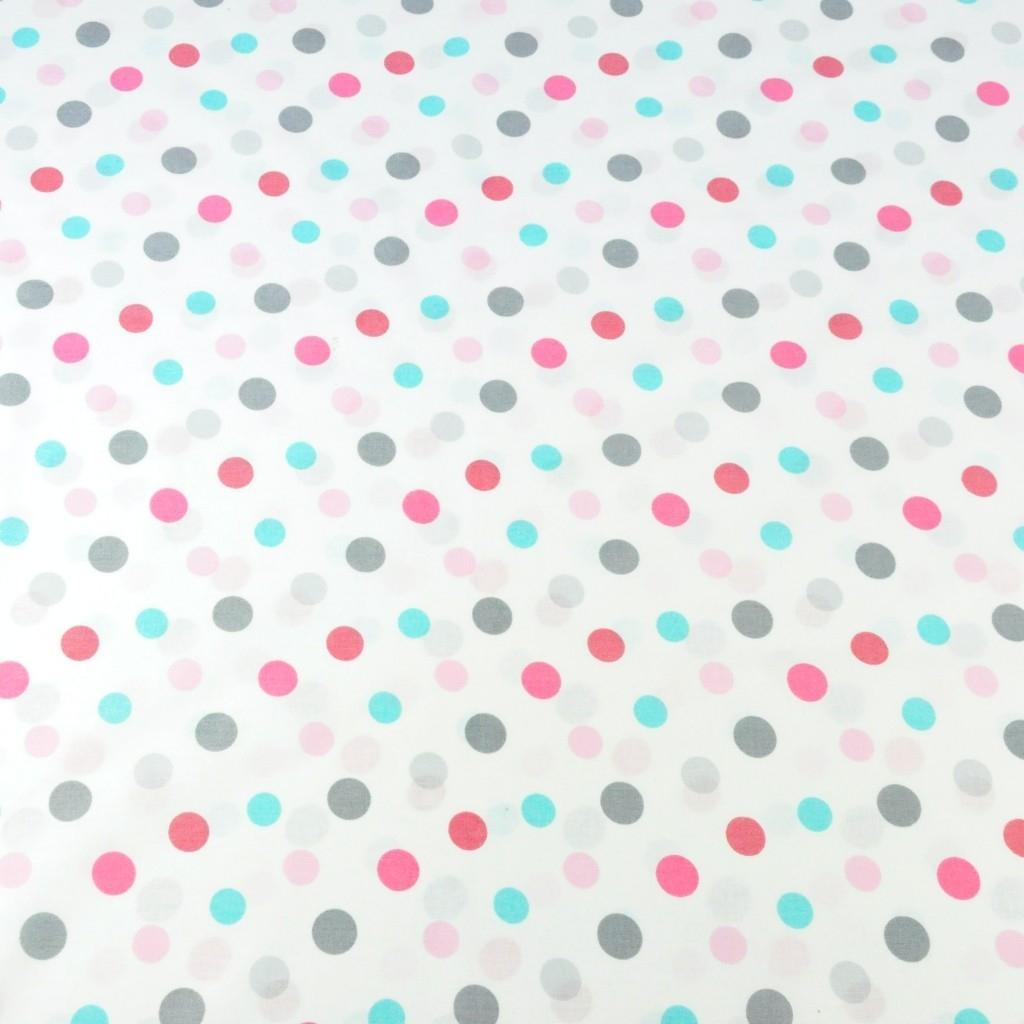 Tkanina w grochy podwójne różowo szaro turkusowe na białym tle