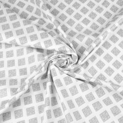Tkanina geometryczna romby wzorzyste szare na białym