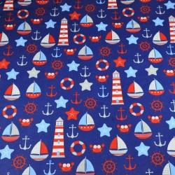 Tkanina w Morskie wzory czerwono szare na granatowym tle