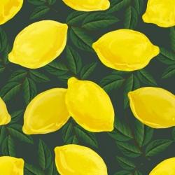 Dzianina bawełniana Jersey druk cyfrowy - cytrynki na zielonym tle