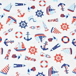Tkanina w Marynarskie małe wzory czerwono granatowe na białym tle