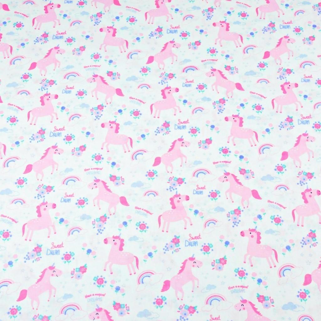 Tkanina w jednorożce różowe MINI z kwiatkami na białym tle