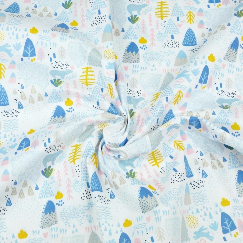 niedźwiedzie niebieskie MINI z drzewkami na białym tle