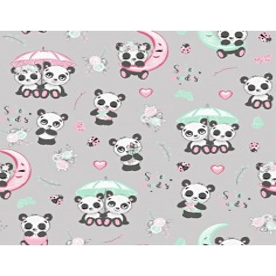 pandy z parasolem na jasno szarym tle