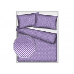 Tkanina groszki 7mm fioletowe tło