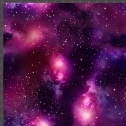 Dzianina bawełniana Jersey druk cyfrowy - kosmos różowo fioletowy