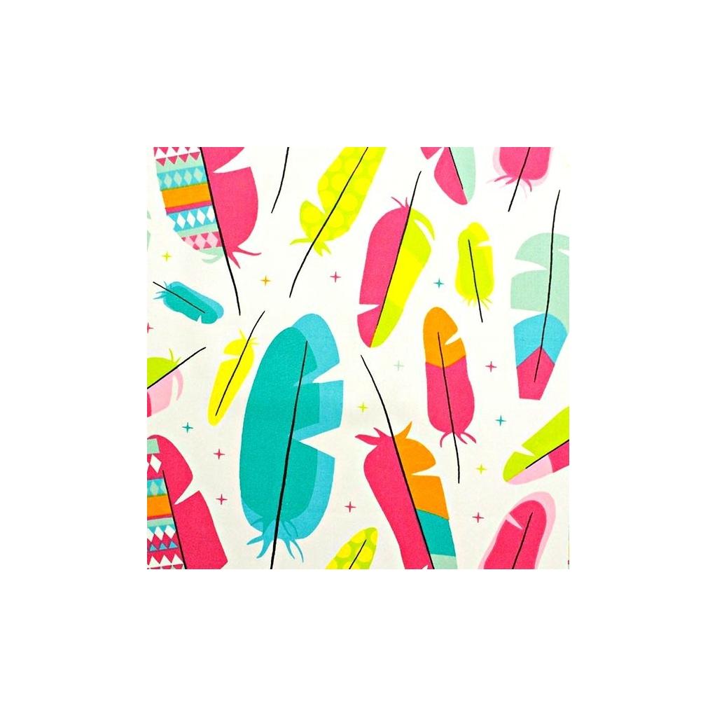 Tkanina w Piórka duże kolorowe na białym tle