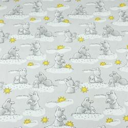 króliki ze słoneczkami na szarym tle
