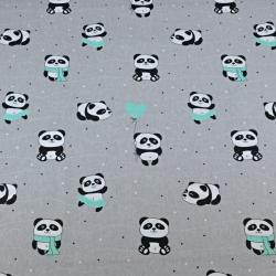 pandy z miętowym balonikiem na szarym tle