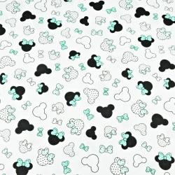 MIKI małe czarno miętowe z kokardką na białym tle